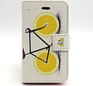 Bicycle Pattern PU Leather Full Body Case with Card Slot and Stand for iPhone 4/4G