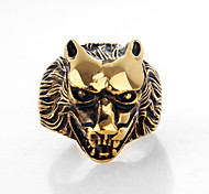 Fashion Wolf Shape Titanium Steel Wholesales Ring For Mens(White,Gold)(1Pc)