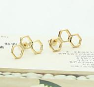 Stud Earrings Crystal Rhinestone Gold Plated 18K gold Simulated Diamond Fashion Jewelry 2pcs