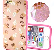 2-in-1 Bling Bling Golden Pineapple Pattern PC Back Cover with PC Bumper Shockproof Hard Case for iPhone 6