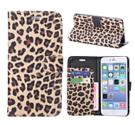 Leopard Print Pattern Horizontal Flip Leather Case with Card Slots and Holder