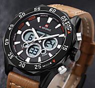 Luxury Brand Multifunction Men's Leather Military Sport Watch LED Digital Watch Quartz Wristwatch(Assorted Colors)