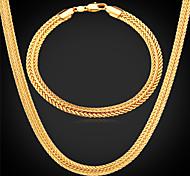 U7®Foxtail Chain Necklace Bracelet 18K Real Gold Plated Vintage Chunky Necklace Bracelet Fashion Jewelry Set