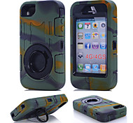 lourd hybride robuste béquille antichoc TPU + étui de protection couverture pc dur pour Apple iPhone 4 / 4s (couleurs assorties)