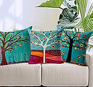 Set of 3 Colorful Floral Tree Cotton/Linen Decorative Pillow Cover