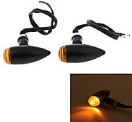 Alloy Yellow LED Motorcycle Turn Signal Indicator Light Lamp Bulb Black Shell (2 Pcs)