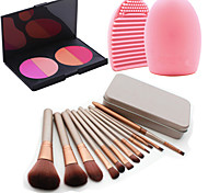 12Pcs Cosmetic Makeup Tool Eyeshadow Blush Foundation Brush Set Box +4Colors Blush Palette+1PCS Brush Cleaning Tool