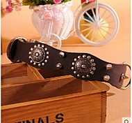 Defeng Restore Ancient Ways With Rivet Cowhide Eog Bite Prevention Leather Large Oversized Domin Eering Collar