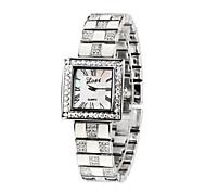 moda prata luxo quadrado de cristal bling do cristal de rocha senhora casuais mulheres pulseira relógio de vestido