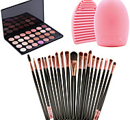 20pcs escovas definir sombra ferramenta pincel delineador + 28colors neutra paleta de sombras quente nu + 1pcs ferramenta de limpeza