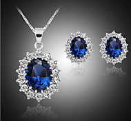 Lucky Doll Women's Luxury Crystal Gem 925 Silver Plated Zirconia Necklace & Earrings Jewelry Sets