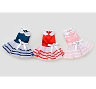 Dog Dress Red / Blue / Pink Summer Bowknot