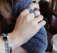 European Style Retro Fashion Chain Mash Adjustable Ring Set