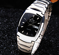 Men's New Calendar Oval Diamond Dial Mineral Glass Mirror Stainless Steel Band Business Waterproof Quartz Watch Wrist Watch Cool Watch Unique Watch