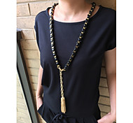 Fashion Long Necklace Black Lather with Golden Zink With Pendant Free Shipping