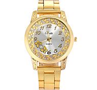 Women Watches Gold Watch Women Fashion Alloy Crystal Butterfly Quartz Watch