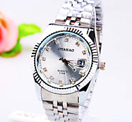 Men's Business Round Diamond Dial PC Movement Steel Strap Fashion Life Waterproof Calendar Quartz Watch