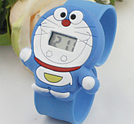 Children's Cute Cartoon Silicone  Doraemon Pattern   Lovely Digital Calendar Water Resistant  Slap Watch Cool Watches Unique Watches
