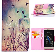 Autumn Birds Pattern with Card Bag Full Body Case for Huawei P8