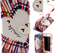 Colorful Pencil Pattern with Card Bag Full Body Case for iPhone 5/5S