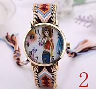 2015  Women Watches Gold Wristwatch Ladies Quartz Watches Geneva Handmade Weave Braided   Bracelet XR1238
