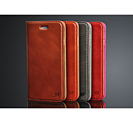 For iPhone 6 Case / iPhone 6 Plus Case Flip Case Full Body Case Solid Color Hard Genuine Leather iPhone 6s Plus/6 Plus / iPhone 6s/6