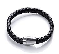 Fashion Magnetic Snap Leather Weave All-Match Bracelet(Black)(1Pc)