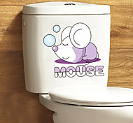 Lovely Sleeping Mouse PVC Wall Sticker Toilet Decals