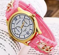 mulheres genebra banda marca de moda silicone relógio de quartzo analógico