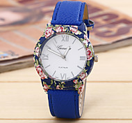 Ladies Fashion Simple Flower Embossed Circular Belt China Watch Movement(Assorted Colors)