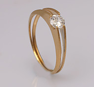Fashion Small Zircon Golden  Stainless Steel Band Rings
