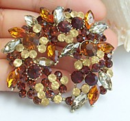 2.17 Inch Gold-tone Topaz Rhinestone Crystal Flower Brooch Pendant Art Decorations