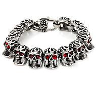 L:21.5CM Wide:2CM Fashion Stainless Steel 316L Skull Crystal Men Cool Link Cuff Bracelet
