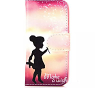 Girl  Pattern PU Leather Phone Case for iPhone 5C