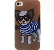 Striped Dog Pattern TPU Material Phone Case for iPhone 4/4S