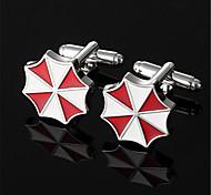 Men's Resident Evil Umbrella Corporation Red White Silver Cufflinks