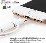 yellowknife® MFI Lightning+Micro USB Sync and Charger Cable for iphone7 6s Plus iOS&Android (100cm)