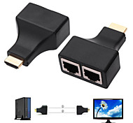 1080P 3D HD30M HDMI to Dual Port RJ45 Network Cable Extender Over by Cat 5e / 6