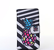 Black and White Pineapple Pattern PU Leather Full Body Case with Stand for Multiple Samsung Galaxy E5/E7/J1/J5/J7