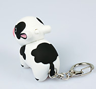 LED Milk Cow Keychain Cartoon Flashlight Sound Light Key Ring (Random Color)