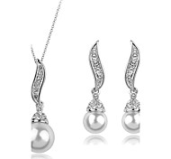 Women European Style Fashion Elegant Angel Wings Cubic Zirconia Imitation Pearl Necklace Earrings Sets