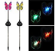 Pack of 2 Solar Color-Changing Butterfly Garden Stake Light Landscape Lighting Pathway Stairway