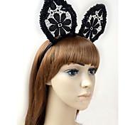 Wedding&Party Jewelry Lace Rabbit Ears Black Orecchiette Headbands