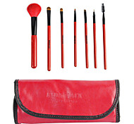 7 pcs 100% Goat Weasel Tail Hair Red&Black High-end Pro Makeup Brush Set with Leather Case
