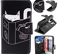 Cat Pattern with Card Bag Full Body Case for iPhone 4/4S