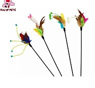 FUN OF PETS® Lovely Flower Shaped Feather Decorated Playing Stick for Pet Dogs Cats(Random Colour)
