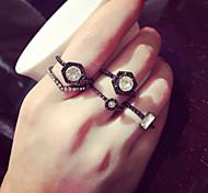 Fashion Black Metal Crystal Midi Rings Ring Set(1 Set)