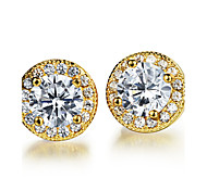 AAA Zircon Stainless Steel 24 K Gold Lucky Earrings