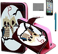 COCO FUN® Heart Owl Pattern PU Leather Case with Screen Protector and USB Cable and Stylus for iPhone 4/4S