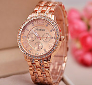 Women's Fashion Geneva Quartz Watch Sparkle Crystal Case Steel Strap